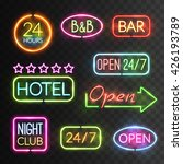 neon open sign icon set with... | Shutterstock .eps vector #426193789