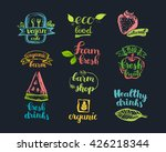 hand drawn farm fresh logo set. ... | Shutterstock .eps vector #426218344