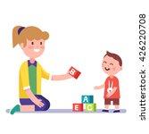 mother or kindergarten teacher... | Shutterstock .eps vector #426220708