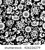 Stock vector black and white floral pattern 426226279