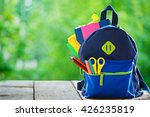 full school backpack on wooden... | Shutterstock . vector #426235819