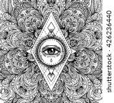 all seeing eye in ornate round...   Shutterstock .eps vector #426236440