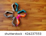Colorful Shoes On A Wooden Floor