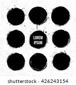set of nine black circles with... | Shutterstock .eps vector #426243154