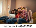 group of friends watching... | Shutterstock . vector #426257749