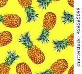 watercolor pineapple seamless... | Shutterstock . vector #426265099