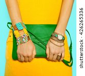 Small photo of Stylish Accessories. Bag and Jewelry. Bright Summer Colors.