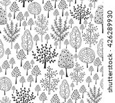 Trees Vector Pattern. Doodle...