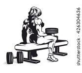 bodybuilder woman with... | Shutterstock .eps vector #426304636