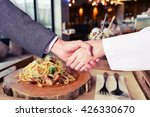 business man hand shake with...   Shutterstock . vector #426330670