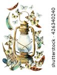 Watercolor Vintage Lamp With...