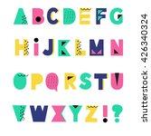 hand drawn summer alphabet.... | Shutterstock .eps vector #426340324