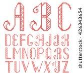 vector cross stitch alphabet... | Shutterstock .eps vector #426343654