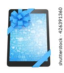 black tablet with blue bow and... | Shutterstock . vector #426391360