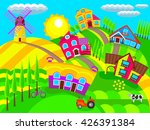 village on the hills in summer | Shutterstock .eps vector #426391384