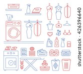 vector laundry room set icons.... | Shutterstock .eps vector #426396640