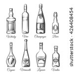 alcohol bottles in hand drawn...