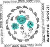 set of boho style  hand drawn... | Shutterstock .eps vector #426409084