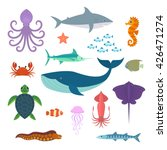 set of vector marine fish and... | Shutterstock .eps vector #426471274