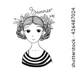 beautiful young girl with... | Shutterstock .eps vector #426487024