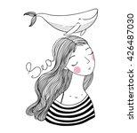 beautiful young girl sailor... | Shutterstock .eps vector #426487030