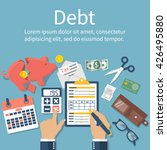 debt concept vector flat design....