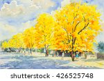 watercolor painting yellow ... | Shutterstock . vector #426525748