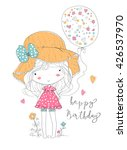 girl holding birthday balloon | Shutterstock .eps vector #426537970