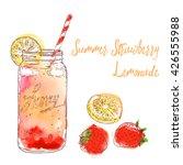 summer lemonade in glass jar.... | Shutterstock .eps vector #426555988