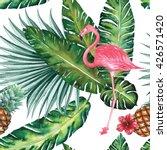 Tropical Jungle Nature Flamingo ...