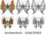 set of beautiful butterfly. art ... | Shutterstock . vector #426619483