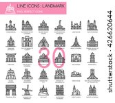 landmark   thin line and pixel... | Shutterstock .eps vector #426620644