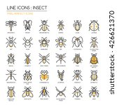 insect    thin line and pixel...