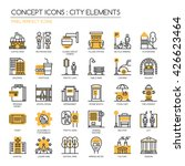 city elements   thin line and... | Shutterstock .eps vector #426623464