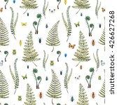 Watercolor Pattern Plant Ferns...