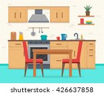 kitchen with furniture set.... | Shutterstock .eps vector #426637858