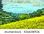 Painting Grass Filled Hillside...
