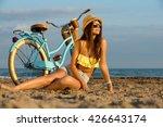 slender young brunette girl... | Shutterstock . vector #426643174