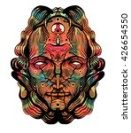 metaphysical  psyhodelic head ... | Shutterstock . vector #426654550