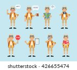 set of tourist characters...