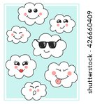 cute vector clouds icons.... | Shutterstock .eps vector #426660409