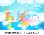 famous buildings silhouettes on ... | Shutterstock .eps vector #426665614