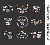 welcome baby girl. baby shower... | Shutterstock .eps vector #426668968