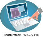 man's hand working with... | Shutterstock .eps vector #426672148