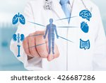 young medic pointing on modern... | Shutterstock . vector #426687286