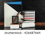 school supplies near blackboard ... | Shutterstock . vector #426687664