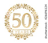 golden emblem of fiftieth years ... | Shutterstock .eps vector #426696124