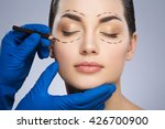 plastic surgeon drawing dashed... | Shutterstock . vector #426700900