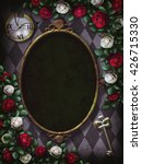 Stock photo alice in wonderland red roses and white roses on chess background clock and key wonderland 426715330