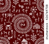 warli painting seamless pattern ... | Shutterstock .eps vector #426769708